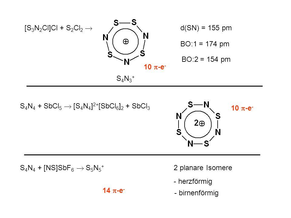 [S3N2Cl]Cl + S2Cl2  d(SN) = 155 pm. BO:1 = 174 pm. BO:2 = 154 pm. 10 -e- S4N3+ S4N4 + SbCl5  [S4N4]2+[SbCl6]2 + SbCl3.